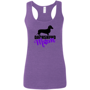 Dachshund Mom Shorthair (Purple) Ladies' Softstyle Racerback Tank