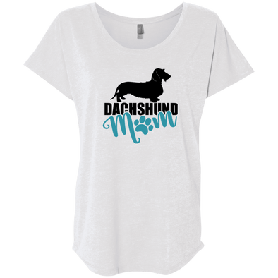 Dachshund Mom Wirehair (Teal) Ladies' Triblend Dolman Sleeve