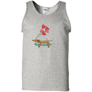 Skateboarding Doxie Unisex 100% Cotton Tank Top