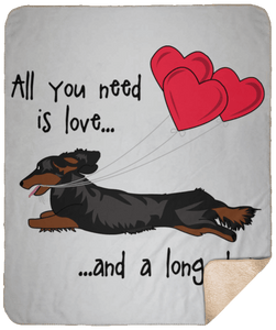 All You Need Is Love LH (B&T) Fleece Sherpa Blanket - 50x60