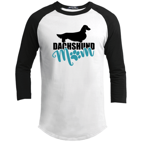 Dachshund Mom Longhair (Teal) Unisex 100% Cotton Baseball Jersey