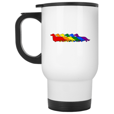 Rainbow Pride Longhair Dachshunds 14 oz. Stainless Steel Travel Mug