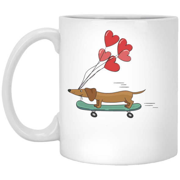 Skateboarding Doxie 11 oz. White Ceramic Mug