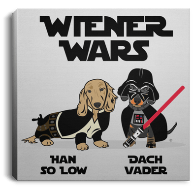 Wiener Wars Square Canvas .75in Frame 16x16