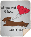 All You Need Is Love LH (Red) Fleece Sherpa Blanket - 50x60