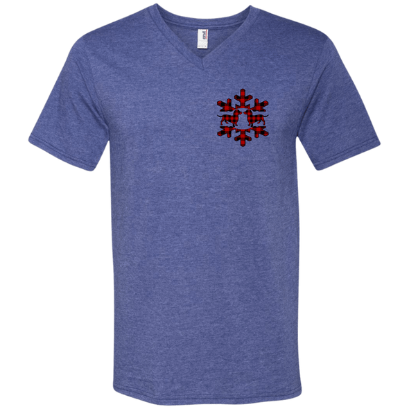 Plaid Snowflake Dachshunds Men's V-Neck T-Shirt