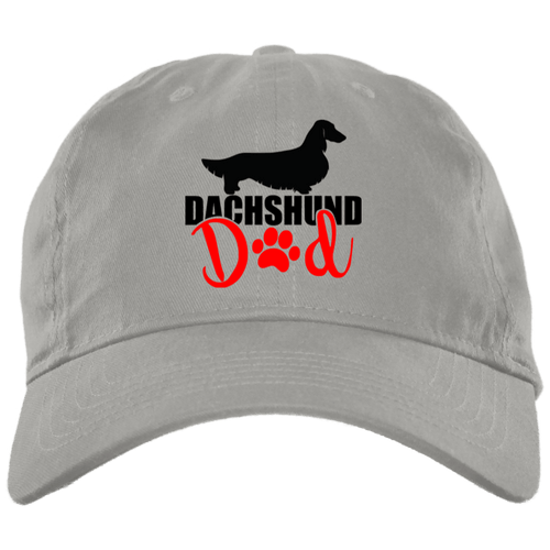 Dachshund Dad Longhair (Red) Embroidered Brushed Twill Unstructured Cap