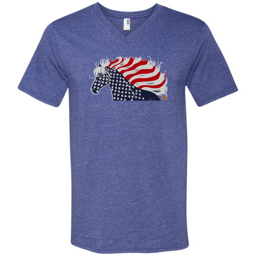USA Flag Patriotic Horse Men's V-Neck T-Shirt