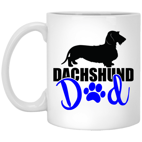 Dachshund Dad Wirehair (Blue) 11 oz Ceramic Mug