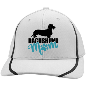 Dachshund Mom Wirehair (Teal) Embroidered Sport-Tek Flexfit Colorblock Cap