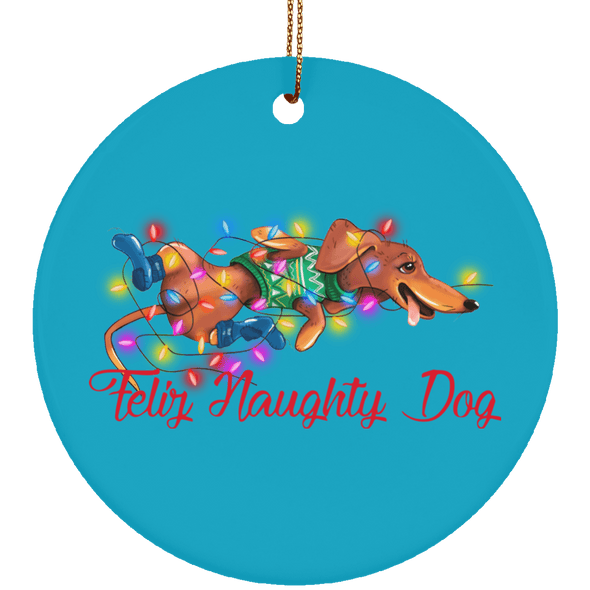 Feliz Naughty Dog Ceramic Circle Ornament