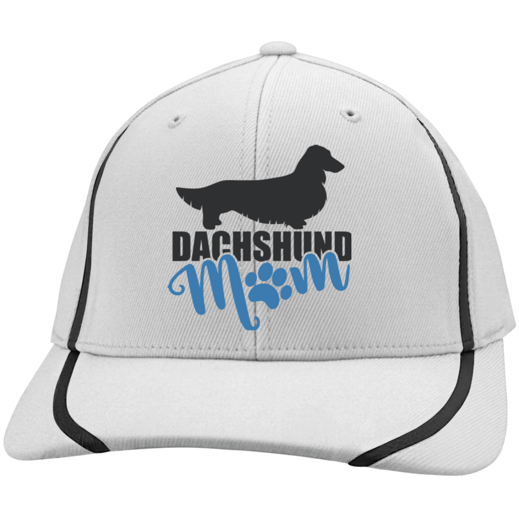 Dachshund Mom Longhair (Teal) Flexfit Colorblock Cap
