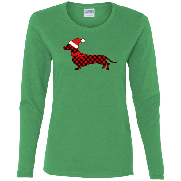 Red Plaid Santa Doxie Ladies' Cotton LS T-Shirt