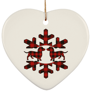 Plaid Snowflake Dachshunds Ceramic Heart Ornament
