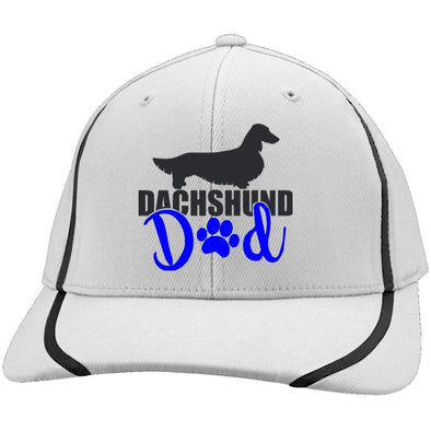 Dachshund Dad Longhair (Blue) Embroidered Flexfit Colorblock Cap