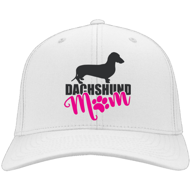 Dachshund Mom Shorthair (Pink) Embroidered Flex Fit Twill Baseball Cap