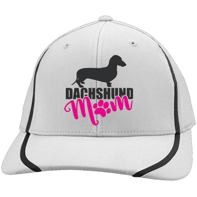 Dachshund Mom Shorthair (PInk) Embroidered Flexfit Colorblock Cap