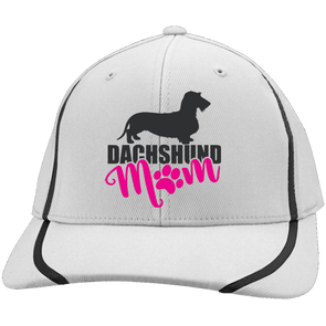 Dachshund Mom Wirehair (Pink) Embroidered Flexfit Colorblock Cap