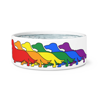 Rainbow Pride Dachshunds Dog Bowl