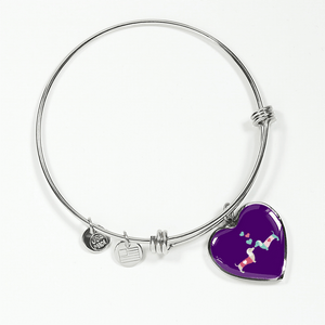 Kissing Doxies Heart-Shaped Charm Adjustable Bangle Bracelet with Engraving Option (Purple background)