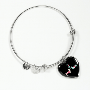 Kissing Doxies Heart-Shaped Charm Adjustable Bangle Bracelet with Engraving Option (Black background)