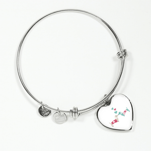 Kissing Doxies Heart-Shaped Charm Adjustable Bangle Bracelet with Engraving Option (White background)