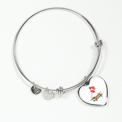 Skateboarding Doxie Heart-Shaped Bangle Bracelet with Engraving Option