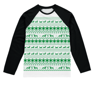 Xmas Sleigh pattern for Gooten Sublimation Baseball Long Sleeve T-Shirt