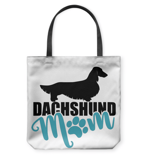 Dachshund Mom Longhair (Teal) Tote Bag