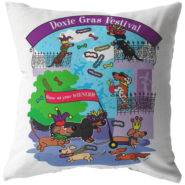 Doxie Gras Festival Throw Pillow