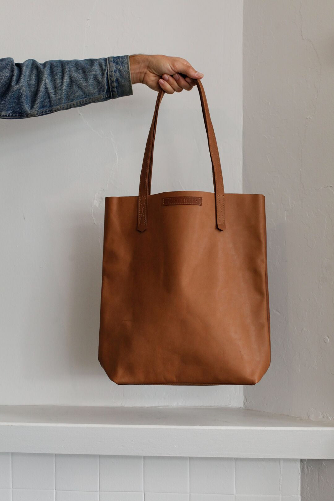 d22d4de00fbe7 Small Leather Tote | Tobacco – Blackbird Goods