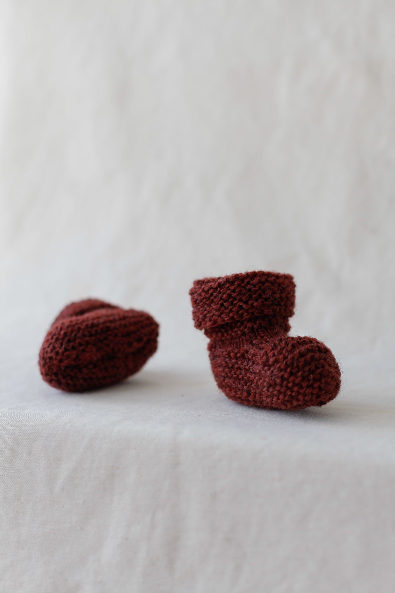 Knitted Baby Booties | Rust