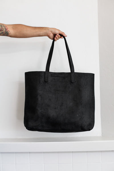 Large Leather Tote | Motorcycle Black