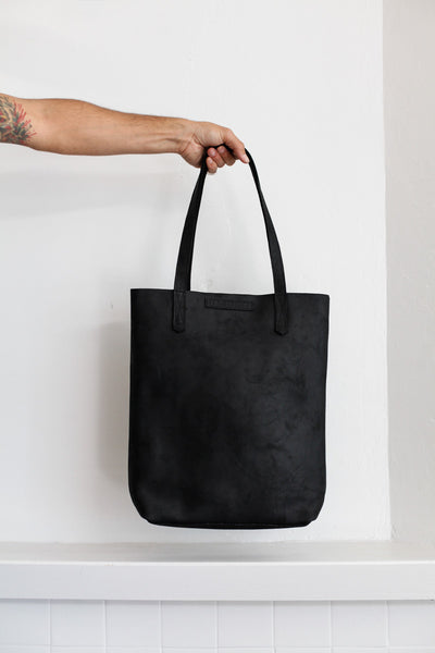 Small Leather Tote | Motorcycle Black