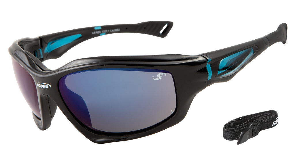 Black high gloss frames with blue mirror lenses - safety strap included