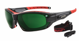 Red and black frames rxable sports sunglasses - built in airvents and dust gasket to protect your eyes from wind, dust and grit