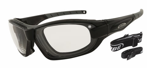 Black frame - clear lenses - rxable sports sunglasses - built in airvents and dust gasket to protect your eyes from wind, dust and grit. Sunglasses strap included