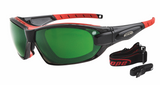 Black and Red frames - dark tinted lenses - rxable sports sunglasses - built in airvents and wind/ dust gasket to protect eyes