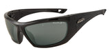 Safety Fashion Sunglasses - Black Gloss Frame & Jade Mirror Lenses