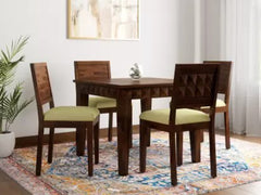 Tesseract Solid Wood 4 Seater Dining Set in Warm Walnut Finish