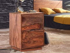 Zephyr Bedside Table In Teak Finish
