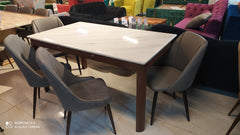 6 Seater Marble Dining with 2 Leatherette and 2 Slipper Chair