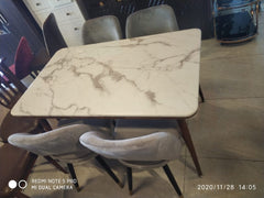 Arlesey For Seater Marble Dining With Slipper Chair