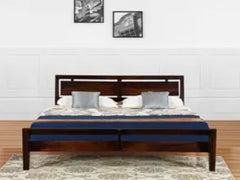 Nauka sheesham Solid Wood Platform King Bed In Walnut Finish