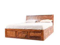 Akira King Size Bed With Slider Storage In Teak Finish By Woods-Worth GMC Standard Beds FN-GMC-004180