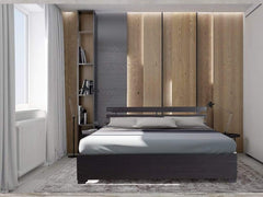 Alder Non-Storage Double Bed In Brown Finish Beds
