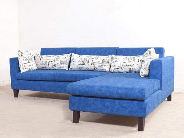 Ansley RHS Sectional Sofa In Blue Color Suede Fabric GMC Express Sofa FN-GMC-005337