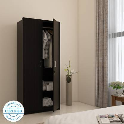 Apex Engineered Wood 2 Door Wardrobe Without Mirror In Wenge Finish GMC Express Storage FN-GMC-008479