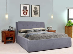 Baxton King Size Upholstered Bed With Box Storage In Grey Color GMC Express Beds FN-GMC-004349