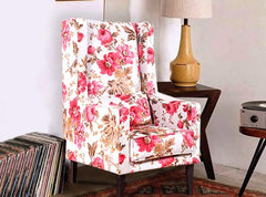 Brooke Beauty Wing Chair in Coral Fabric GMC Standard Chair FN-GMC-002600